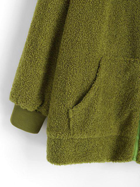 shops Oversize Zip Up Animal Teddy Coat - GREEN S Mobile