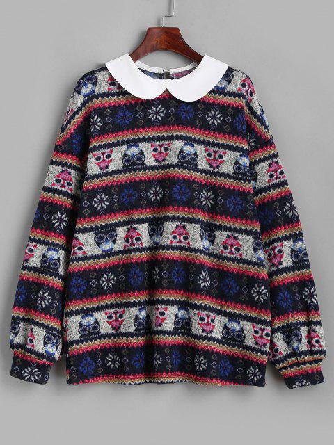 ZAFUL Loose Tribal Print Peter Pan Collar Sweatshirt - ازرق غامق XL Mobile