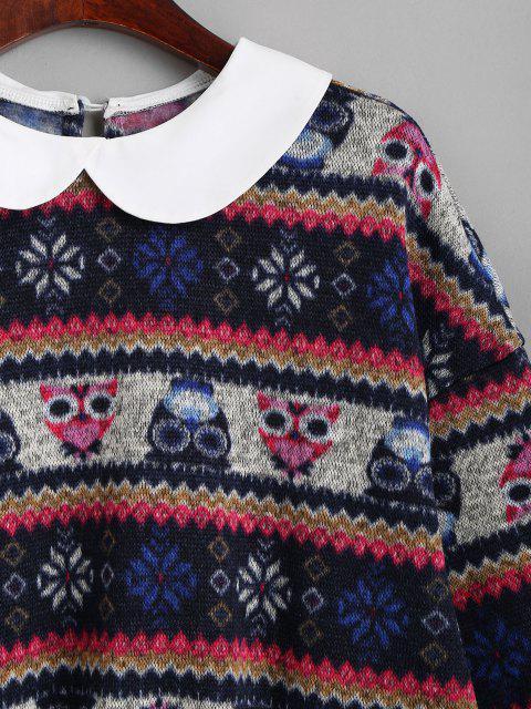ZAFUL Sweat-shirt Lâche Tribal Imprimé à Col Peter Pan - Bleu profond M Mobile