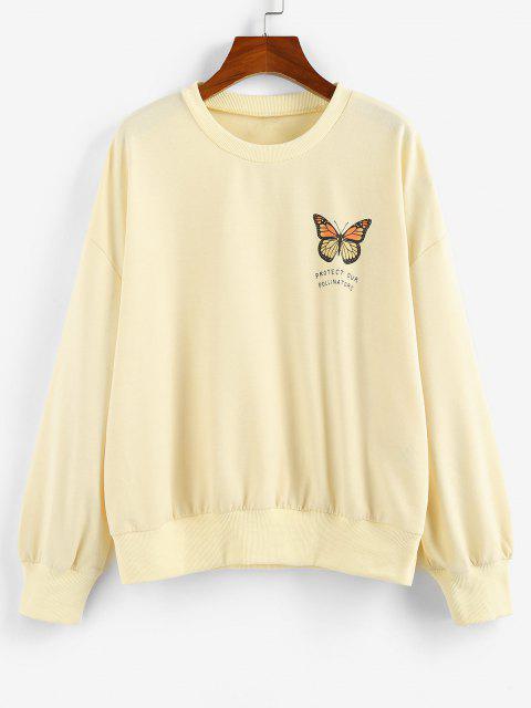 shops ZAFUL Oversized Butterfly Print Drop Shoulder Sweatshirt - LIGHT YELLOW XL Mobile