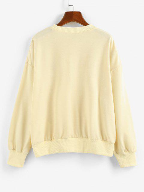 latest ZAFUL Oversized Butterfly Print Drop Shoulder Sweatshirt - LIGHT YELLOW L Mobile