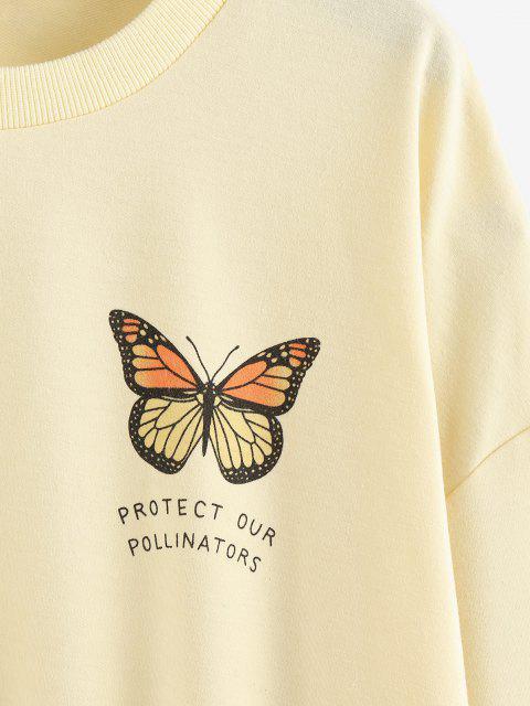 ZAFUL 대형 나비 드롭 숄더 스웨터를 인쇄 - 연노랑 에스 Mobile