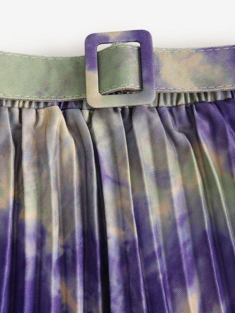 women's Tie Dye Pleated Belted A Line Skirt - MULTI ONE SIZE Mobile