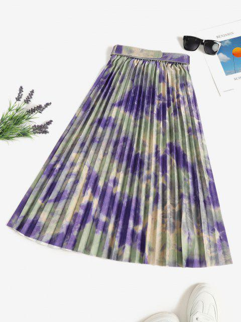 Tie Dye Pleated Belted A Line Skirt - متعدد حجم واحد Mobile