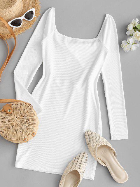 shop ZAFUL Ribbed Twisted Cutout Bodycon Club Dress - WHITE M Mobile