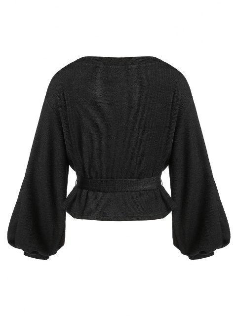 ZAFUL Belted Lantern Sleeve Cardigan - أسود M Mobile