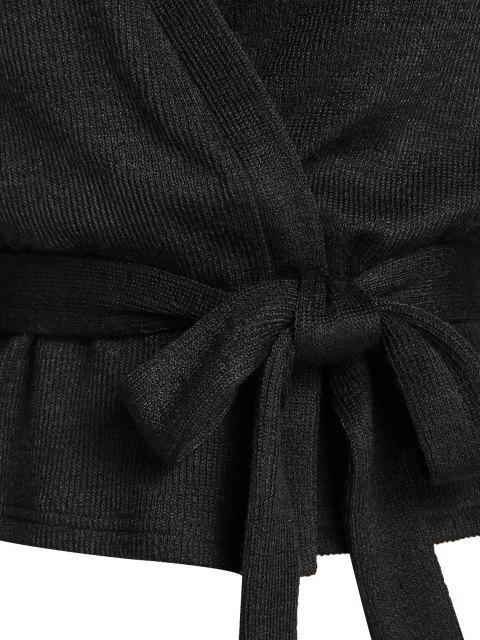 unique ZAFUL Belted Lantern Sleeve Cardigan - BLACK M Mobile