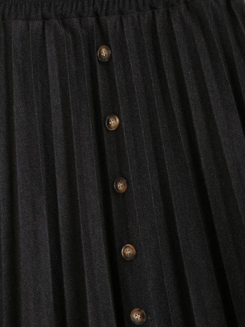 Saia plissada de cintura alta com botões - Preto Um Tamanho Mobile