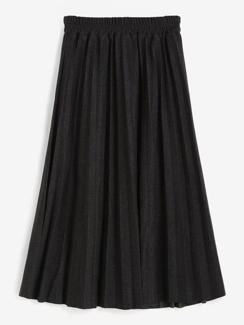 best Mock Button High Waisted Pleated Skirt - BLACK ONE SIZE Mobile