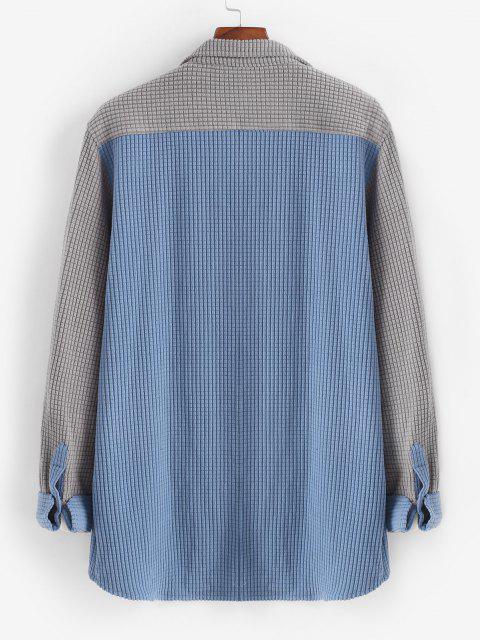 fancy Colorblock Pocket Long Sleeve Shirt - LIGHT GRAY L Mobile
