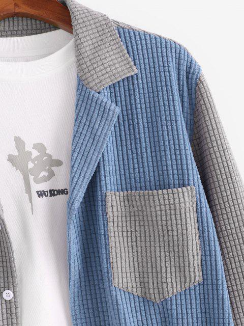 buy Colorblock Pocket Long Sleeve Shirt - LIGHT GRAY S Mobile