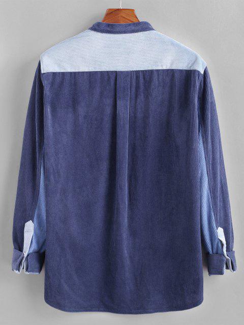 unique Colorblock Pocket Patch Corduroy Shirt - BLUE XL Mobile