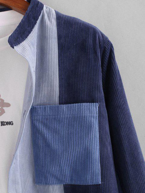 womens Colorblock Pocket Patch Corduroy Shirt - BLUE L Mobile