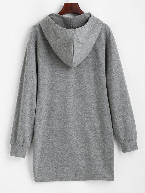 fashion ZAFUL Long Sleeve Drawstring Slinky Hoodie Dress - DARK GRAY L Mobile