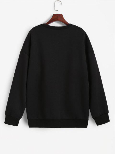 Sweat-shirt Flamme Graphique à Doublure en Laine - Noir S Mobile