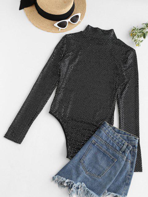 sale Mock Neck Sequined Snap Crotch Bodysuit - BLACK M Mobile