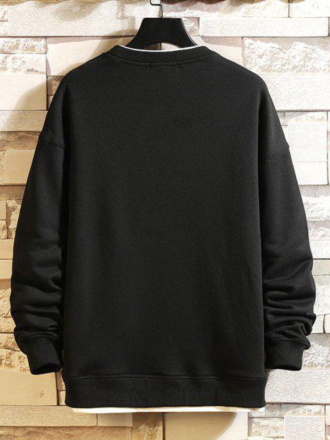 outfit Letter Text Print Contrast Faux Twinset Sweatshirt - BLACK 2XL Mobile