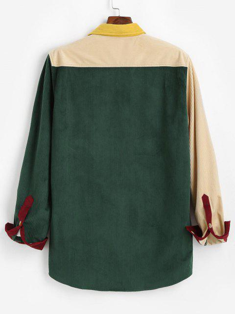 lady Colorblock Pocket Patch Long Sleeve Shirt - MULTI M Mobile