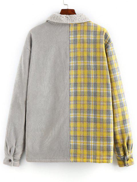 unique ZAFUL Plaid Corduroy Panel Teddy Shirt Jacket - MULTI M Mobile