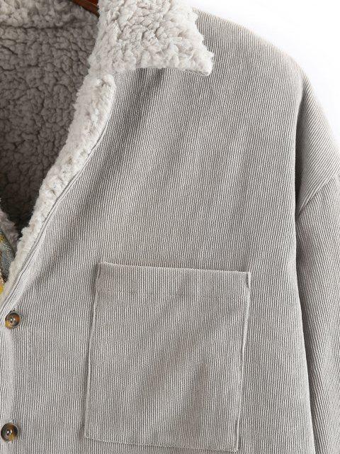 sale ZAFUL Plaid Corduroy Panel Teddy Shirt Jacket - MULTI L Mobile