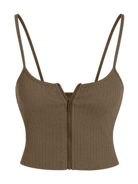 shop ZAFUL Ribbed Zip Front Crop Camisole - DEEP BROWN M Mobile