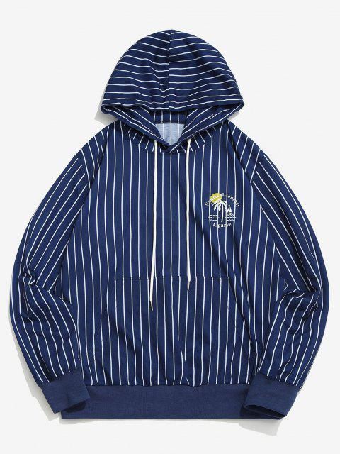 hot Algarve Nautical Journey Striped Pattern Hoodie - BLUE L Mobile