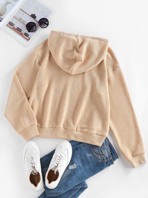 ZAFUL Drawstring Drop Shoulder Knitted Hoodie - القهوة الخفيفة L Mobile
