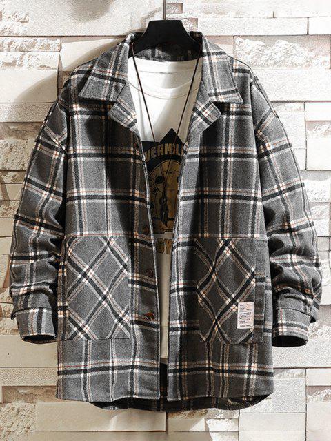 lady Plaid Print Applique Button Up Jacket - CLOUDY GRAY XL Mobile