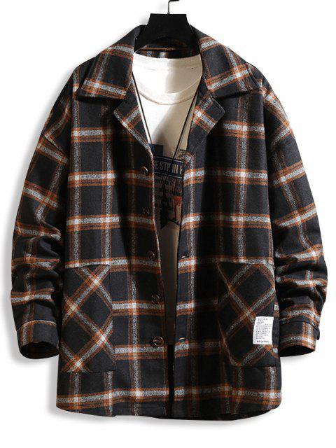 chic Plaid Print Applique Button Up Jacket - BLACK 2XL Mobile