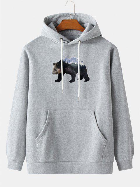 shop Front Pocket Ice Bear Print Fleece Hoodie - LIGHT GRAY L Mobile