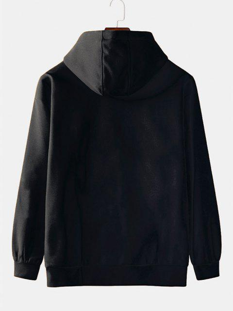 women's Front Pocket Ice Bear Print Fleece Hoodie - BLACK 2XL Mobile