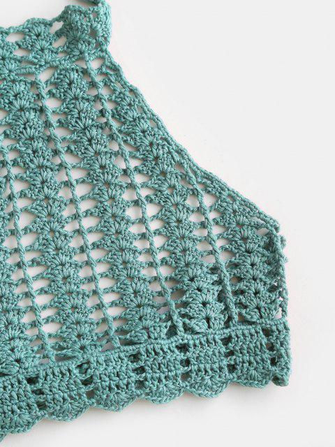 womens High Neck Crocheted Bikini Top - MACAW BLUE GREEN ONE SIZE Mobile