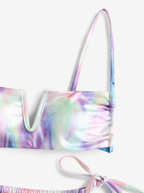 womens ZAFUL Metallic Tie Dye V Wired String Bikini Swimwear - MULTI L Mobile