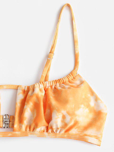 Costume da Bagno Bikini di Tie-Dye e Tanga di ZAFUL - Arancione Scuro S Mobile