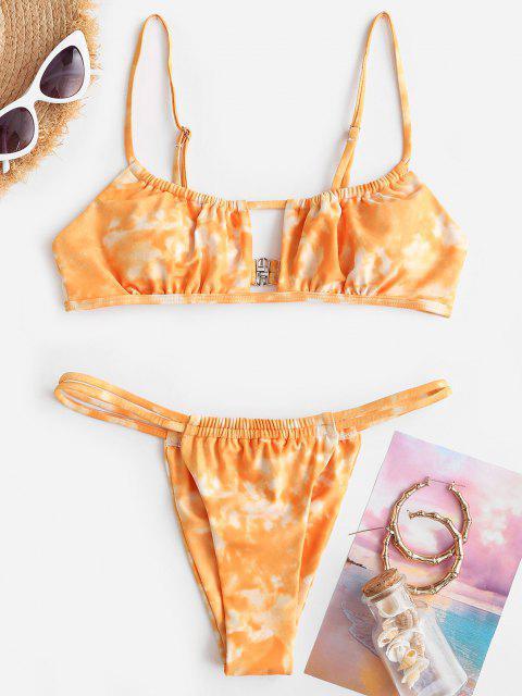 shops ZAFUL Tie Dye Cutout Tanga Bikini Swimwear - DARK ORANGE M Mobile