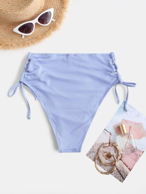 hot ZAFUL Textured Lace Up High Leg Bikini Bottom - LIGHT BLUE S Mobile