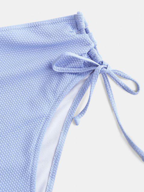 outfit ZAFUL Textured Lace Up High Leg Bikini Bottom - LIGHT BLUE M Mobile