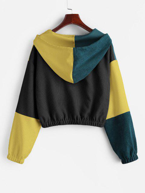 ZAFUL Corduroy Color Block Hooded Zip Jacket - سقوط أوراق البني M Mobile