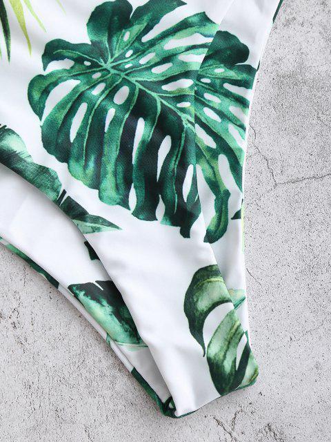 ladies ZAFUL Palm High Leg Bikini Bottom - DEEP GREEN S Mobile