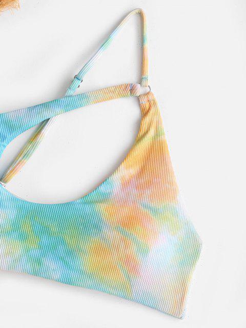 womens ZAFUL Ribbed Tie Dye One Shoulder Cutout Bikini Top - LIGHT GREEN M Mobile
