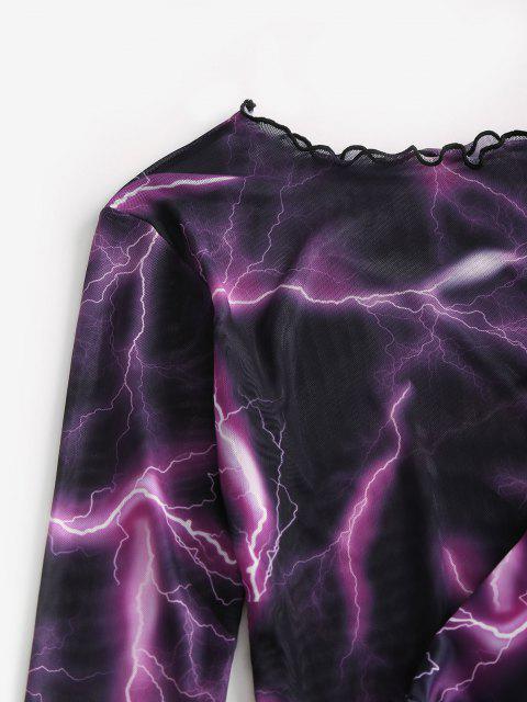 women's ZAFUL Lightning Print Tie Side Mesh Three Piece String Bikini Swimwear - BLACK S Mobile