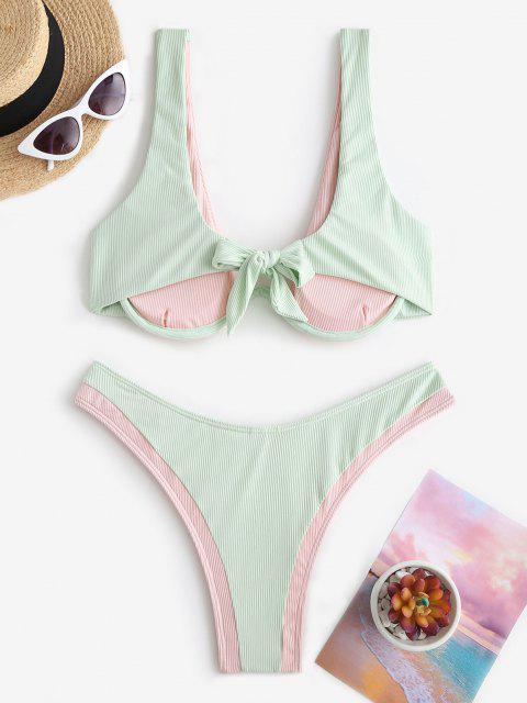 lady ZAFUL Ribbed Colorblock Underwire Brazilian Bikini Swimwear - LIGHT PINK M Mobile