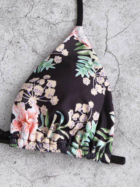 Costume da Bagno Bikini a Pois Floreale a Costine di ZAFUL - Nero S Mobile