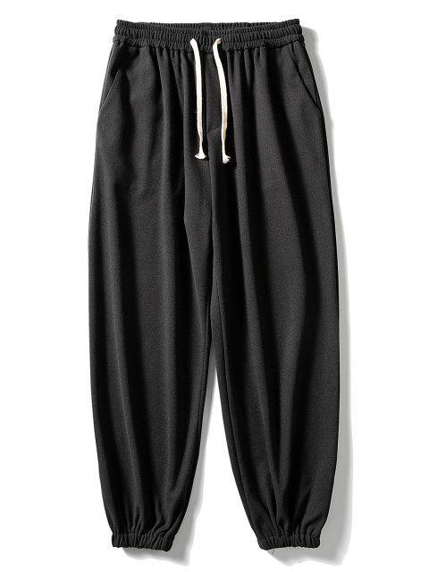 lady Solid Elastic Waist Jogger Sweatpants - BLACK M Mobile