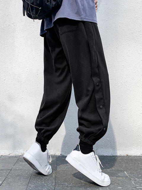 Buchstabedruck Elastische Taille Hose - Schwarz S Mobile