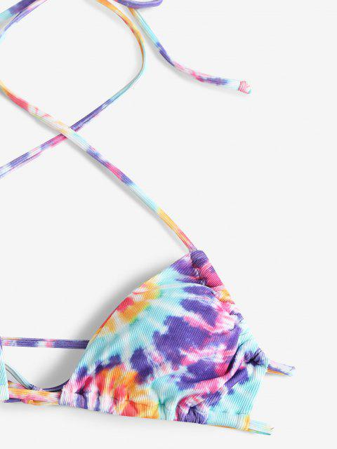 ZAFUL Gerippter Krawattenfärbende Neckholder Schnur Bikini Badebekleidung - Lila S Mobile