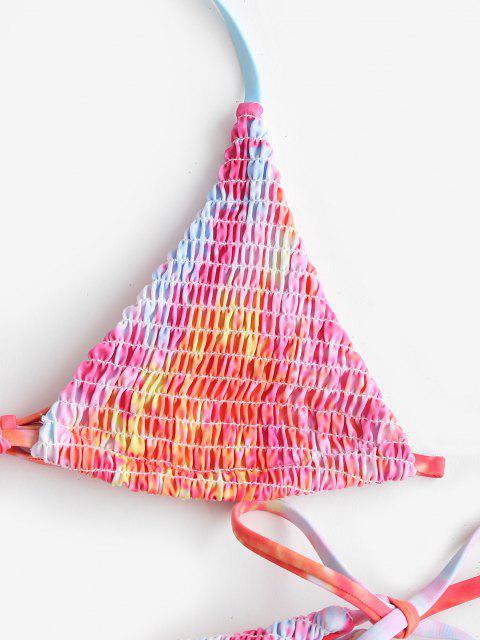 hot ZAFUL Tie Dye Smocked Bralette String Bikini Swimwear - HOT PINK L Mobile