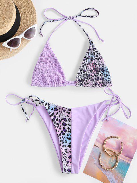 buy ZAFUL Smocked Snakeskin High Leg String Bikini Swimwear - MAUVE L Mobile