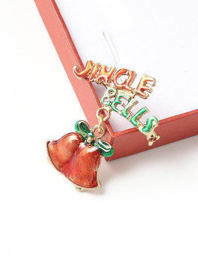 Christmas Jingle Bell Glazed Brooch - Multi