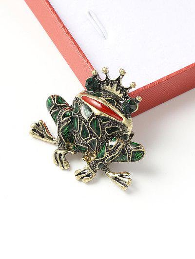 Crown Frog Shape Rhinestone Brooch - Multi